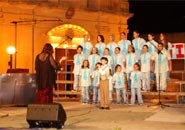 Solo singer Christian with choir